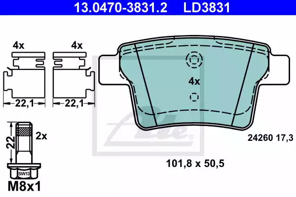 13.0470-3831.2 - Brake Pad Set, disc brake