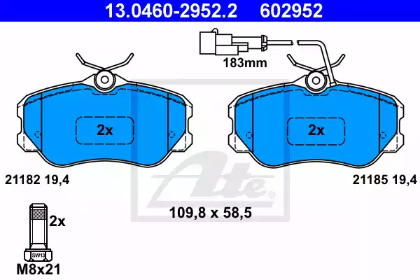 13.0460-2952.2 - Brake Pad Set, disc brake